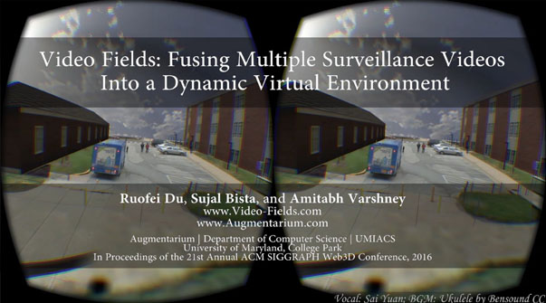 Video Fields: Fusing Multiple Surveillance Videos Into a Dynamic Virtual Environment Teaser Image.